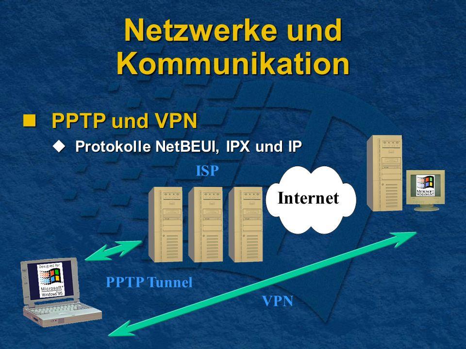 Netzwerke und Kommunikation PPTP und VPN PPTP und VPN Protokolle NetBEUI, IPX und IP Protokolle NetBEUI, IPX und IP Internet VPN ISP PPTP Tunnel