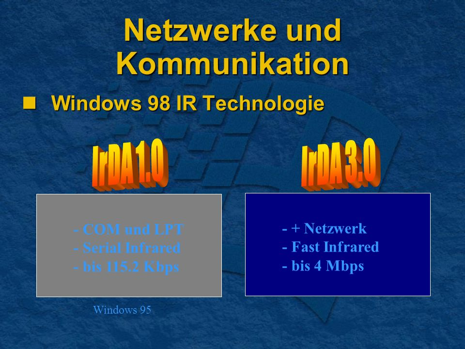 Netzwerke und Kommunikation Windows 98 IR Technologie Windows 98 IR Technologie - COM und LPT - Serial Infrared - bis 115.2 Kbps - + Netzwerk - Fast Infrared - bis 4 Mbps Windows 95