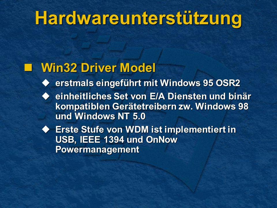 Hardwareunterstützung Win32 Driver Model Win32 Driver Model erstmals eingeführt mit Windows 95 OSR2 erstmals eingeführt mit Windows 95 OSR2 einheitliches Set von E/A Diensten und binär kompatiblen Gerätetreibern zw.
