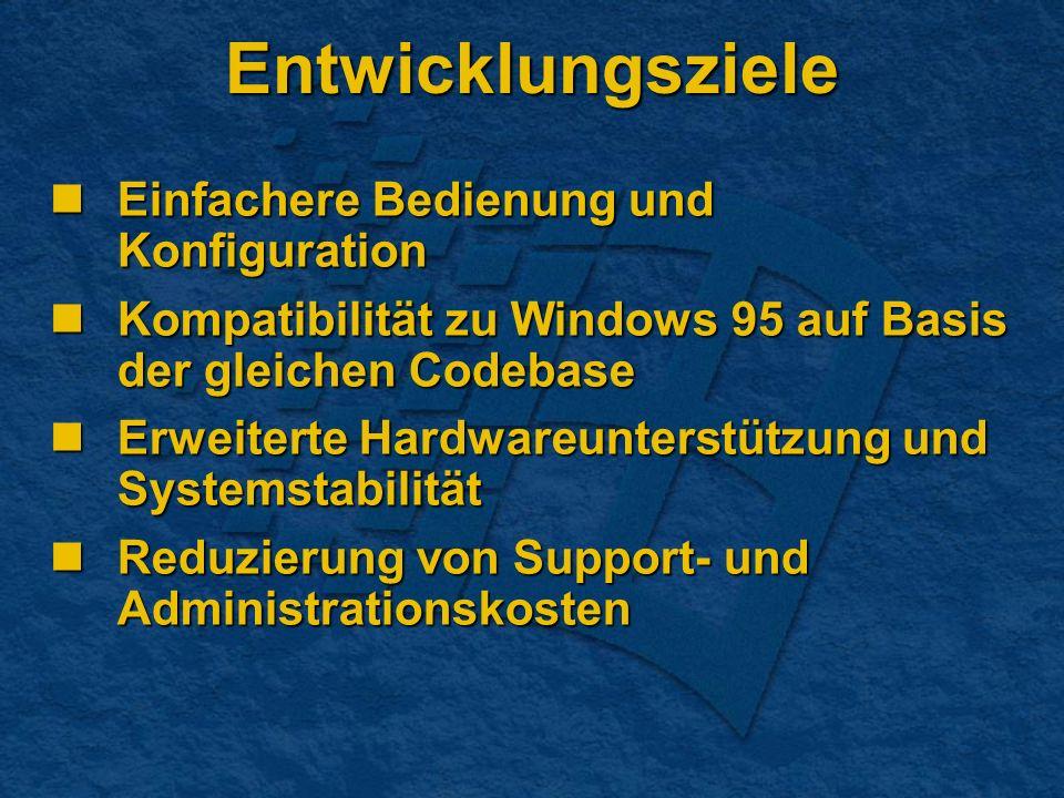 Entwicklungsziele Einfachere Bedienung und Konfiguration Einfachere Bedienung und Konfiguration Kompatibilität zu Windows 95 auf Basis der gleichen Co