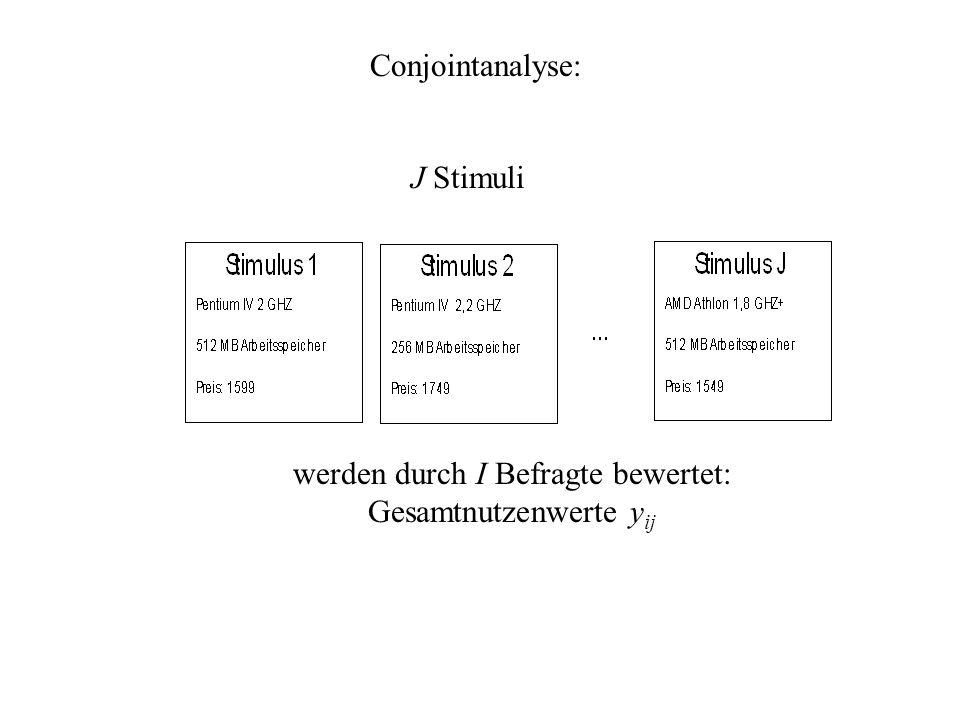 Conjointanalyse: J Stimuli werden durch I Befragte bewertet: Gesamtnutzenwerte y ij