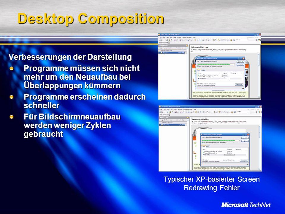 Desktop Composition Verbesserungen der Darstellung Programme müssen sich nicht mehr um den Neuaufbau bei Überlappungen kümmern Programme erscheinen dadurch schneller Für Bildschirmneuaufbau werden weniger Zyklen gebraucht Typischer XP-basierter Screen Redrawing Fehler