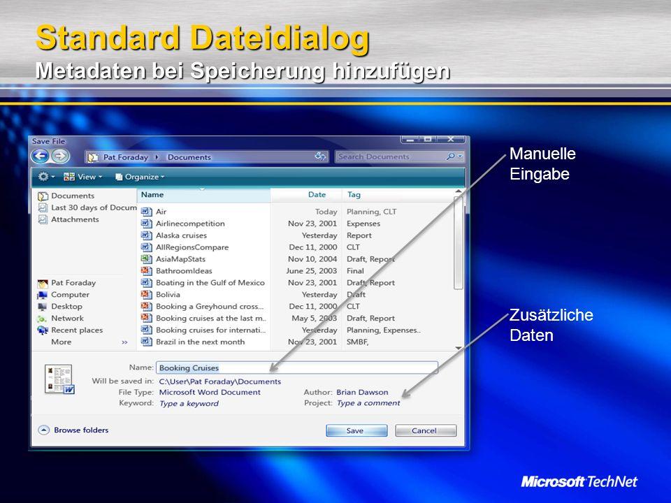 Standard Dateidialog Metadaten bei Speicherung hinzufügen Zusätzliche Daten Manuelle Eingabe
