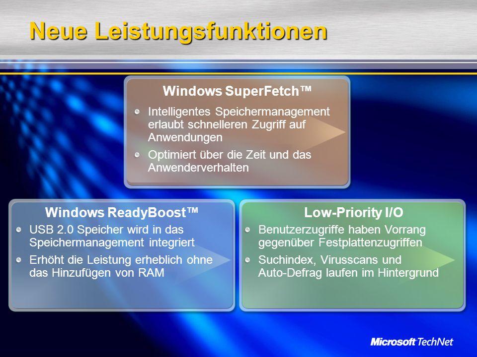 Neue Leistungsfunktionen Windows SuperFetch Windows ReadyBoostLow-Priority I/O Intelligentes Speichermanagement erlaubt schnelleren Zugriff auf Anwendungen Optimiert über die Zeit und das Anwenderverhalten USB 2.0 Speicher wird in das Speichermanagement integriert Erhöht die Leistung erheblich ohne das Hinzufügen von RAM Benutzerzugriffe haben Vorrang gegenüber Festplattenzugriffen Suchindex, Virusscans und Auto-Defrag laufen im Hintergrund