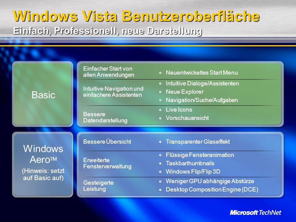 Windows Vista Benutzeroberfläche Einfach, Professionell, neue Darstellung Basic Windows Aero TM (Hinweis: setzt auf Basic auf) Einfacher Start von allen Anwendungen Intuitive Navigation und einfachere Assistenten Bessere Datendarstellung Neuentwickeltes Start Menu Intuitive Dialoge/Assistenten Neue Explorer Navigation/Suche/Aufgaben Live Icons Vorschauansicht Bessere Übersicht Erweiterte Fensterverwaltung Gesteigerte Leistung Transparenter Glaseffekt Flüssige Fensteranimation Taskbarthumbnails Windows Flip/Flip 3D Weniger GPU abhängige Abstürze Desktop Composition Engine (DCE)