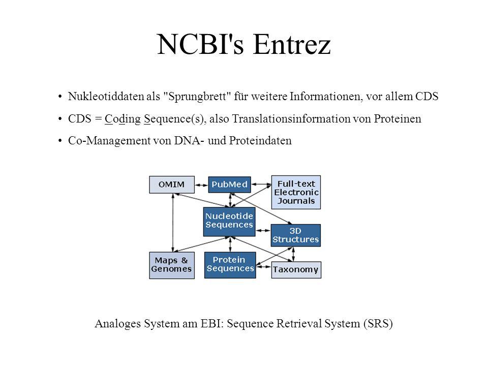 Datenbankformate GenBank: Genetische Sequenz-Datenbank gepflegt durch das NCBI (National Center for Biotechnology Information) am NIH (National Instit