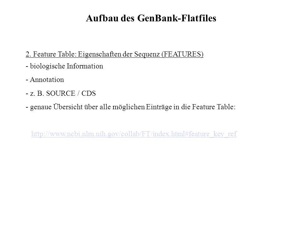 Aufbau des GenBank-Flatfiles 1. Header: Informationen, die den gesamten Eintrag betreffen - LOCUS (einmalige accession number, z. B. AF010325 / Länge