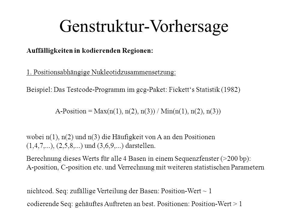 Genstruktur-Vorhersage Ansatzpunkte für ab initio – Algorithmen: Exon-Intron-Strukturen (Spleiß-Stellen, Pyrimidin-reiche Regionen am 3'-Ende von Intr