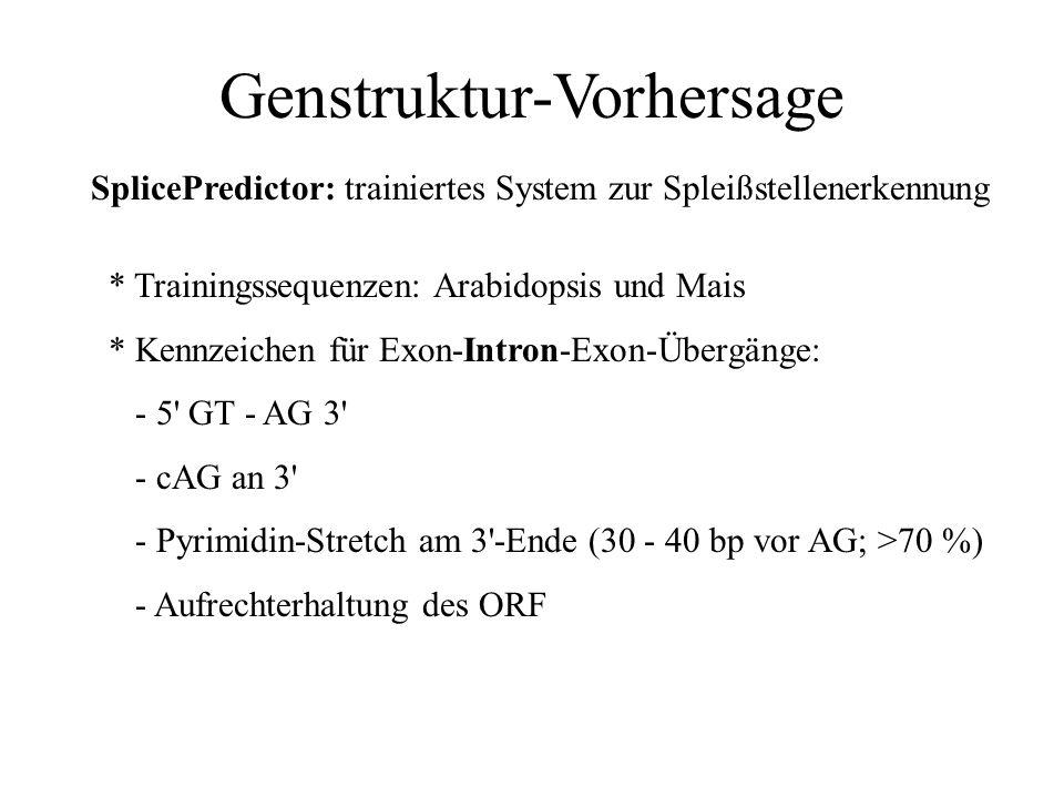 Genstruktur-Vorhersage GeneSeqer: EST-Datenbanken Last update: March 12, 2001 Label Species # of ESTs soybean Glycine max 154,215 Drosophila Drosophil