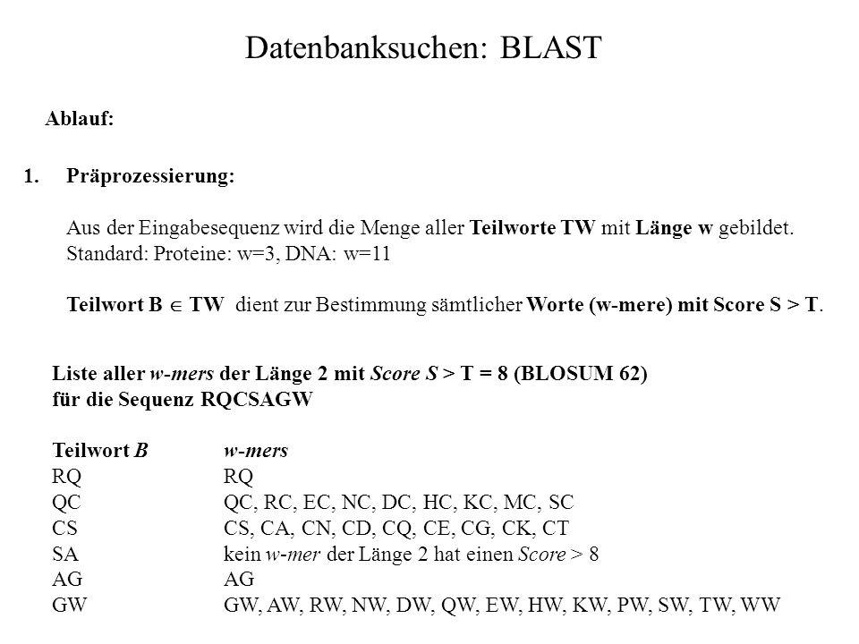 Datenbanksuchen: BLAST BLAST: Basic Local Alignment Search Tool BLAST ist ebenfalls eine Annäherung an den Smith-Waterman-Algorithmus. BLAST beginnt m