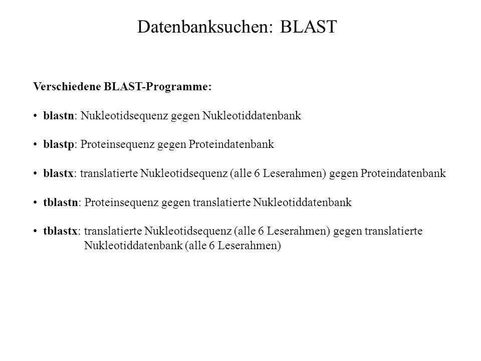 Datenbanksuchen: Vergleich FASTA - BLAST BLAST ist: schneller sensitiver bei Proteinsuchen, da sequenzähnliche Oligomere verwendet werden statt identi