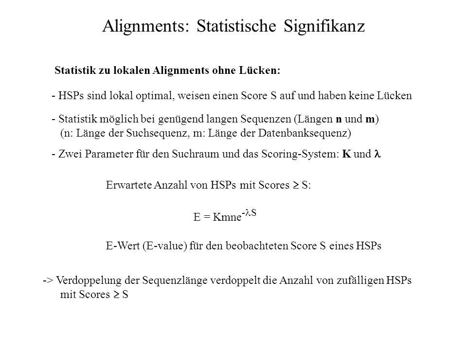 Datenbanksuchen: Statistische Signifikanz Frage: Ist ein bestimmtes Alignment mit einem Score S ein Beweis für die Homologie? Abschätzung des Erwartun