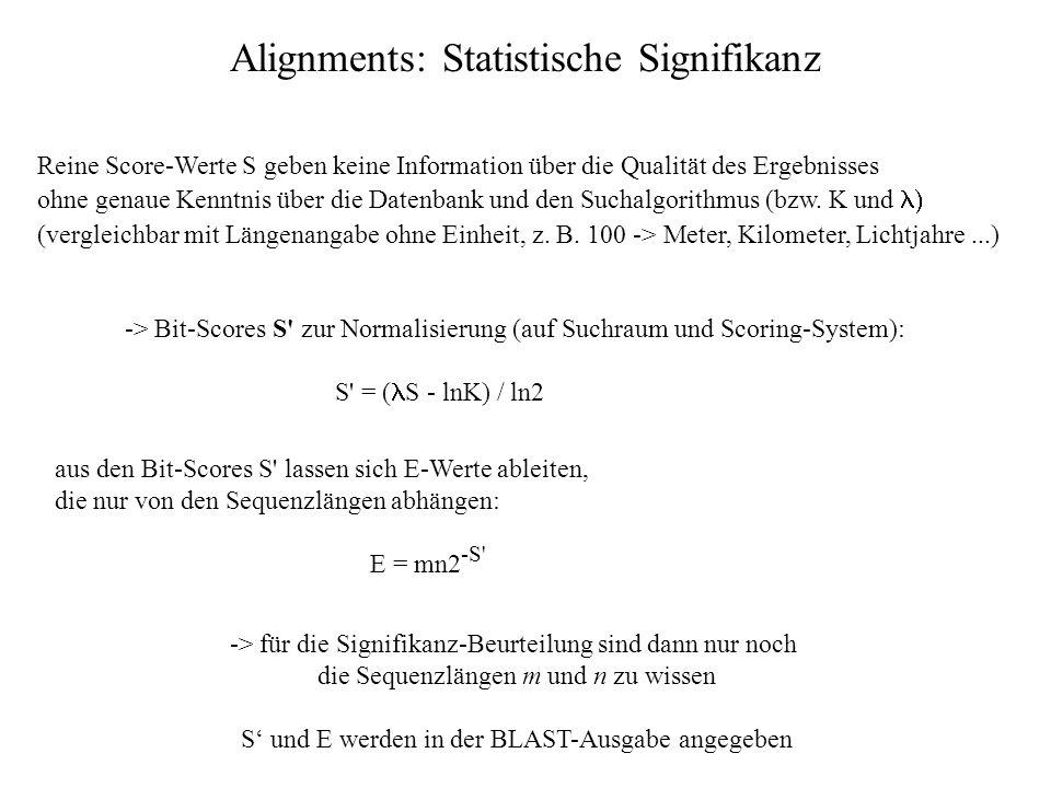 Statistik zu lokalen Alignments ohne Lücken: - HSPs sind lokal optimal, weisen einen Score S auf und haben keine Lücken - Statistik möglich bei genüge