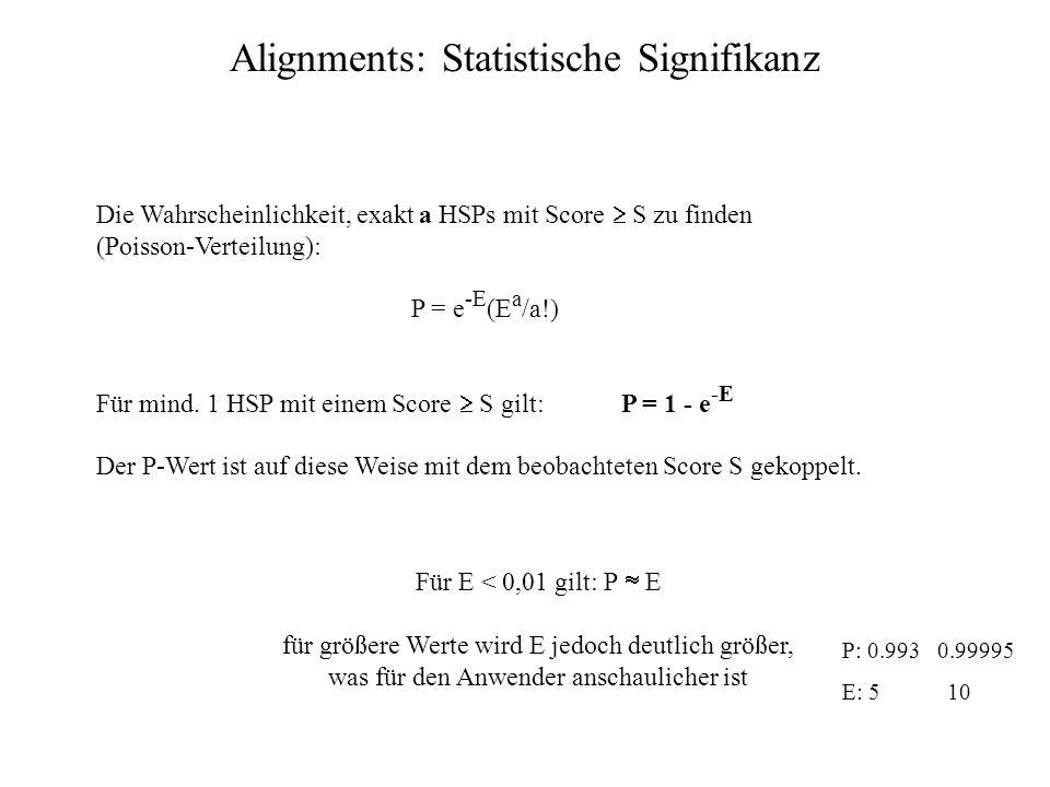 Reine Score-Werte S geben keine Information über die Qualität des Ergebnisses ohne genaue Kenntnis über die Datenbank und den Suchalgorithmus (bzw. K