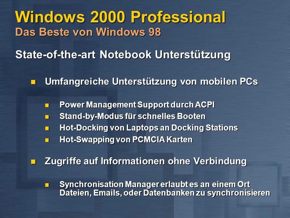 Windows 2000 Professional Das Beste von Windows 98 State-of-the-art Notebook Unterstützung State-of-the-art Notebook Unterstützung Umfangreiche Unterstützung von mobilen PCs Umfangreiche Unterstützung von mobilen PCs Power Management Support durch ACPI Power Management Support durch ACPI Stand-by-Modus für schnelles Booten Stand-by-Modus für schnelles Booten Hot-Docking von Laptops an Docking Stations Hot-Docking von Laptops an Docking Stations Hot-Swapping von PCMCIA Karten Hot-Swapping von PCMCIA Karten Zugriffe auf Informationen ohne Verbindung Zugriffe auf Informationen ohne Verbindung Synchronisation Manager erlaubt es an einem Ort Dateien, Emails, oder Datenbanken zu synchronisieren Synchronisation Manager erlaubt es an einem Ort Dateien, Emails, oder Datenbanken zu synchronisieren