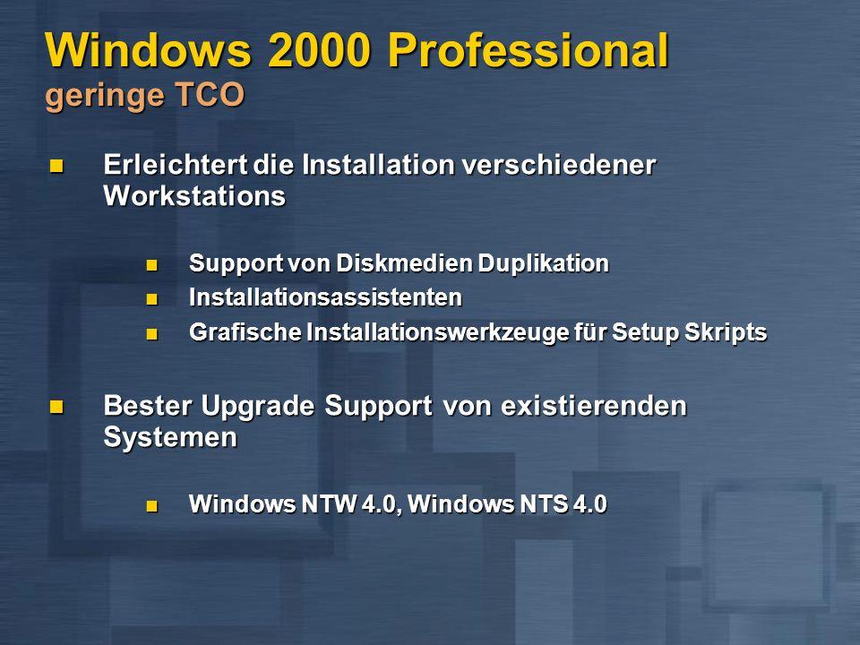 Windows 2000 Professional geringe TCO Erleichtert die Installation verschiedener Workstations Erleichtert die Installation verschiedener Workstations Support von Diskmedien Duplikation Support von Diskmedien Duplikation Installationsassistenten Installationsassistenten Grafische Installationswerkzeuge für Setup Skripts Grafische Installationswerkzeuge für Setup Skripts Bester Upgrade Support von existierenden Systemen Bester Upgrade Support von existierenden Systemen Windows NTW 4.0, Windows NTS 4.0 Windows NTW 4.0, Windows NTS 4.0
