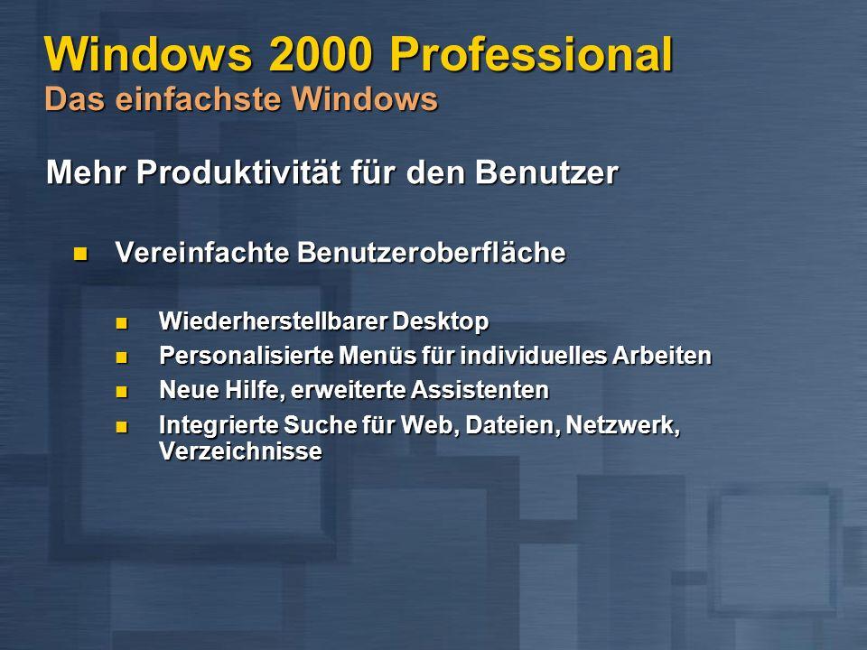 Windows 2000 Professional Das einfachste Windows Mehr Produktivität für den Benutzer Mehr Produktivität für den Benutzer Vereinfachte Benutzeroberfläche Vereinfachte Benutzeroberfläche Wiederherstellbarer Desktop Wiederherstellbarer Desktop Personalisierte Menüs für individuelles Arbeiten Personalisierte Menüs für individuelles Arbeiten Neue Hilfe, erweiterte Assistenten Neue Hilfe, erweiterte Assistenten Integrierte Suche für Web, Dateien, Netzwerk, Verzeichnisse Integrierte Suche für Web, Dateien, Netzwerk, Verzeichnisse
