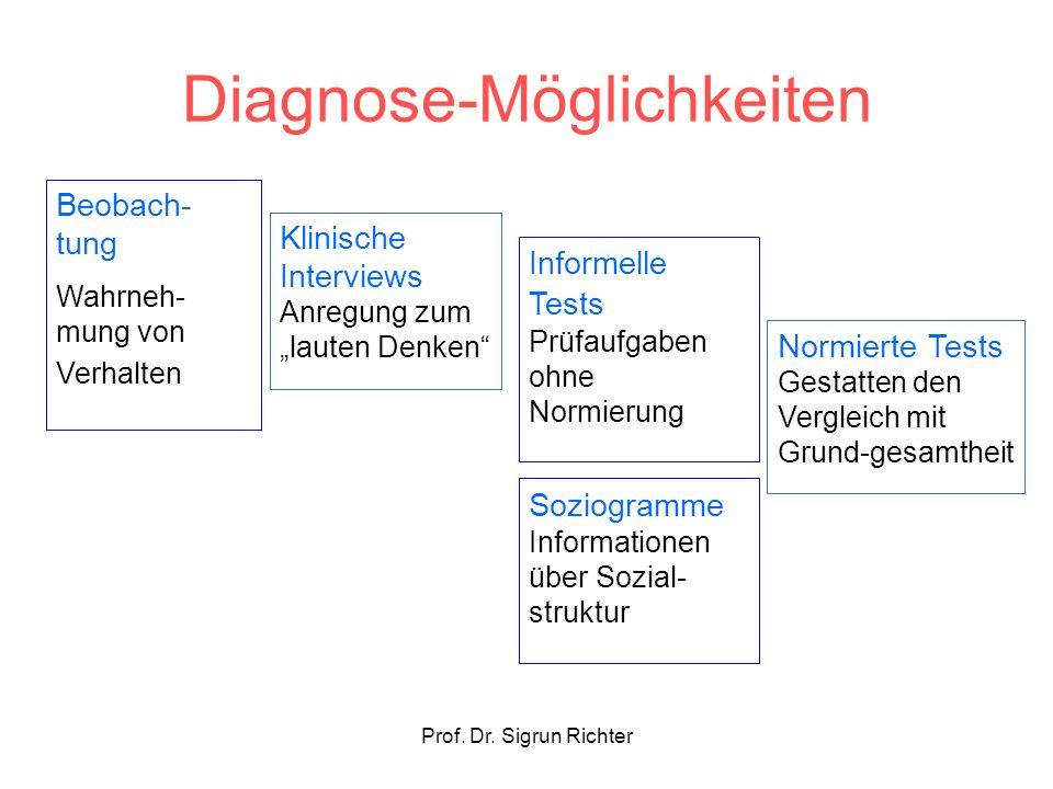 Prof. Dr. Sigrun Richter Diagnose-Möglichkeiten Beobach- tung Wahrneh- mung von Verhalten Klinische Interviews Anregung zum lauten Denken Informelle T