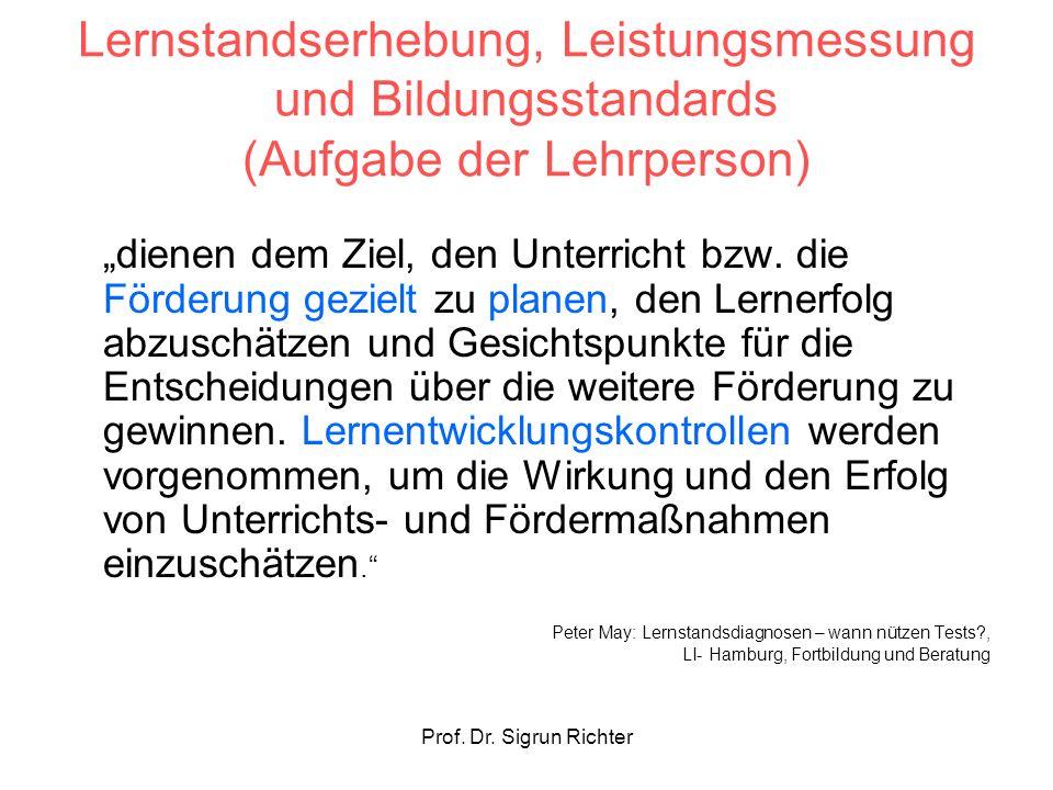 Prof. Dr. Sigrun Richter Lernstandserhebung, Leistungsmessung und Bildungsstandards (Aufgabe der Lehrperson) dienen dem Ziel, den Unterricht bzw. die