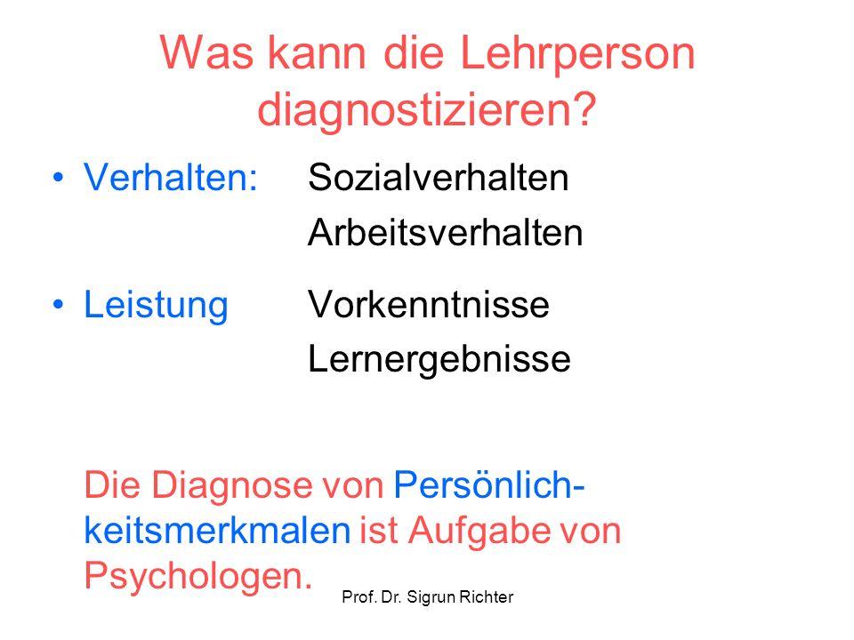 Prof. Dr. Sigrun Richter Was kann die Lehrperson diagnostizieren? Verhalten: Sozialverhalten Arbeitsverhalten LeistungVorkenntnisse Lernergebnisse Die
