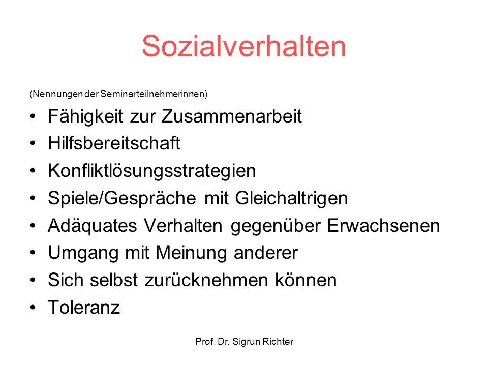 Prof. Dr. Sigrun Richter Sozialverhalten (Nennungen der Seminarteilnehmerinnen) Fähigkeit zur Zusammenarbeit Hilfsbereitschaft Konfliktlösungsstrategi