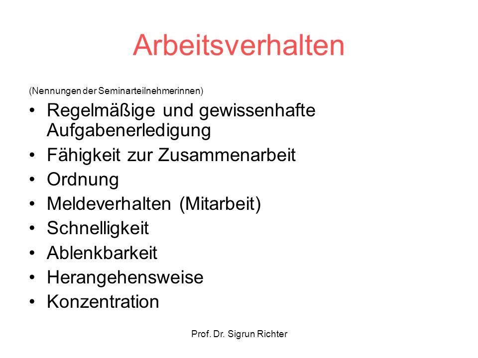 Prof. Dr. Sigrun Richter Arbeitsverhalten (Nennungen der Seminarteilnehmerinnen) Regelmäßige und gewissenhafte Aufgabenerledigung Fähigkeit zur Zusamm