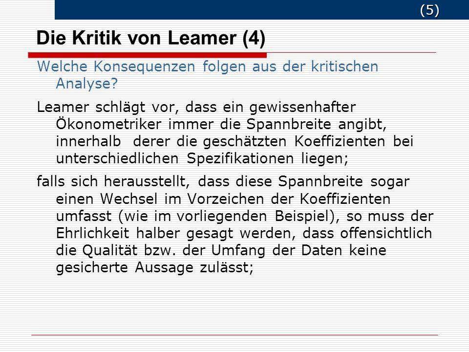 (6) (6) Die Kritik von Leamer (5) Gegenkritik an Leamer Leamers Forderung (Publikationen von Spannbreiten) geht implizit davon aus, dass alle Spezifikationen gleich gut sind.
