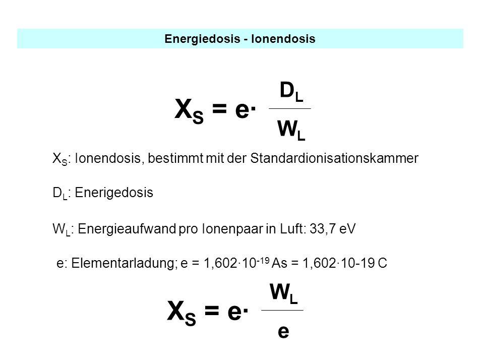 Energiedosis - Ionendosis X S = e· DLWLDLWL X S : Ionendosis, bestimmt mit der Standardionisationskammer W L : Energieaufwand pro Ionenpaar in Luft: 3