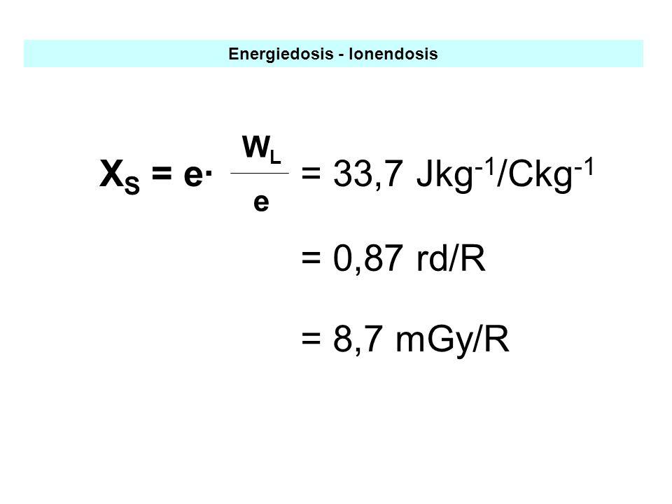 Energiedosis - Ionendosis = 33,7 Jkg -1 /Ckg -1 X S = e· WLeWLe = 0,87 rd/R = 8,7 mGy/R