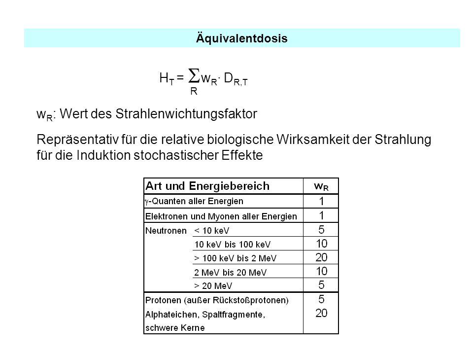 Äquivalentdosis H T = w R · D R,T R w R : Wert des Strahlenwichtungsfaktor Repräsentativ für die relative biologische Wirksamkeit der Strahlung für di