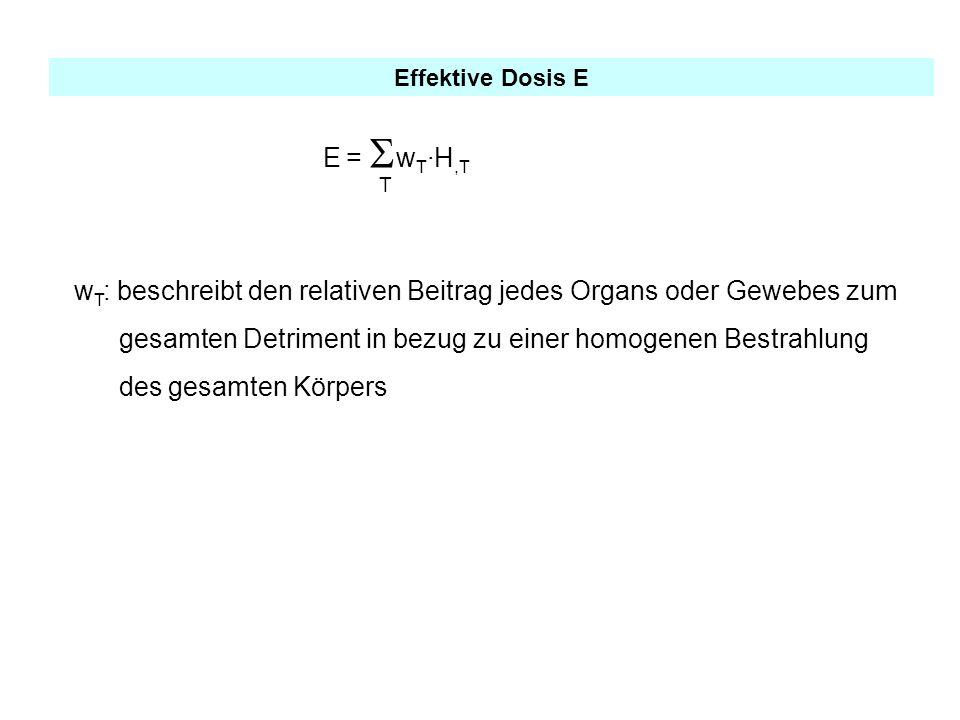 Effektive Dosis E E = w T ·H,T T w T : beschreibt den relativen Beitrag jedes Organs oder Gewebes zum gesamten Detriment in bezug zu einer homogenen B