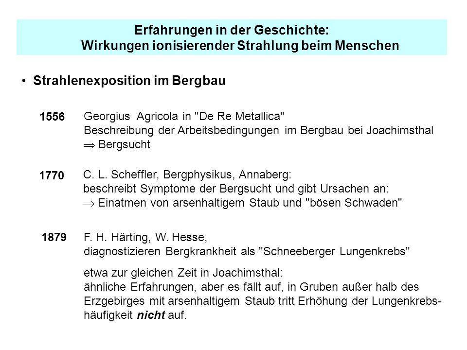 Erfahrungen in der Geschichte: Wirkungen ionisierender Strahlung beim Menschen Strahlenexposition im Bergbau 1556 Georgius Agricola in