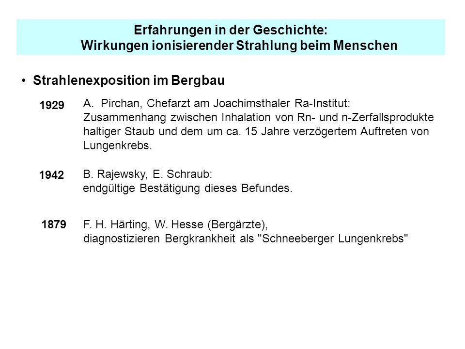 Erfahrungen in der Geschichte: Wirkungen ionisierender Strahlung beim Menschen Strahlenexposition im Bergbau 1929 A.Pirchan, Chefarzt am Joachimsthale