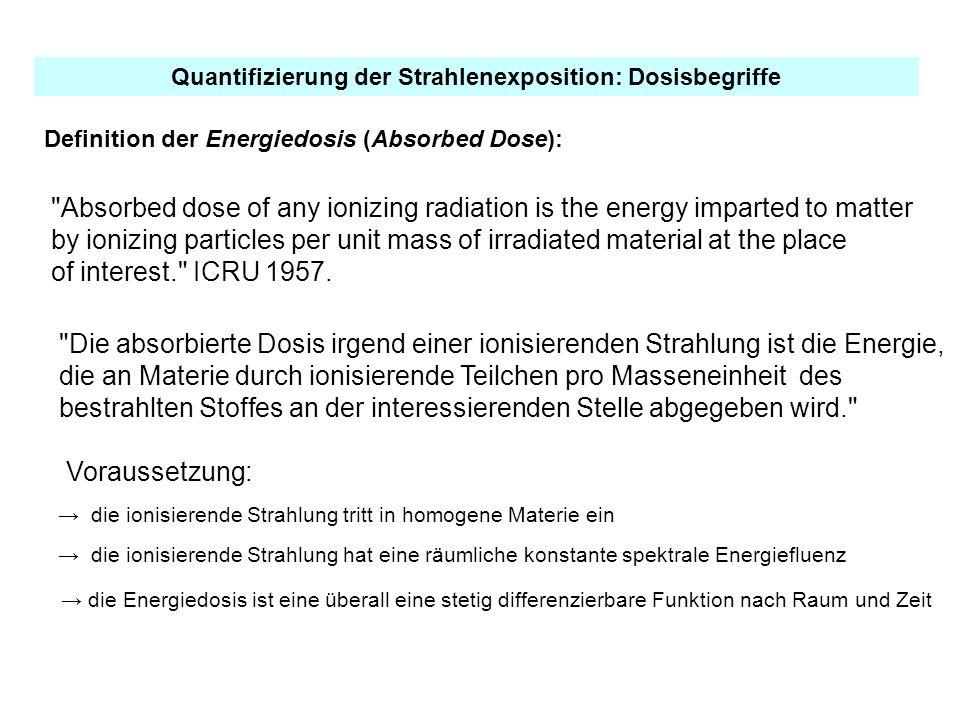 Definition der Energiedosis (Absorbed Dose): Quantifizierung der Strahlenexposition: Dosisbegriffe Voraussetzung: