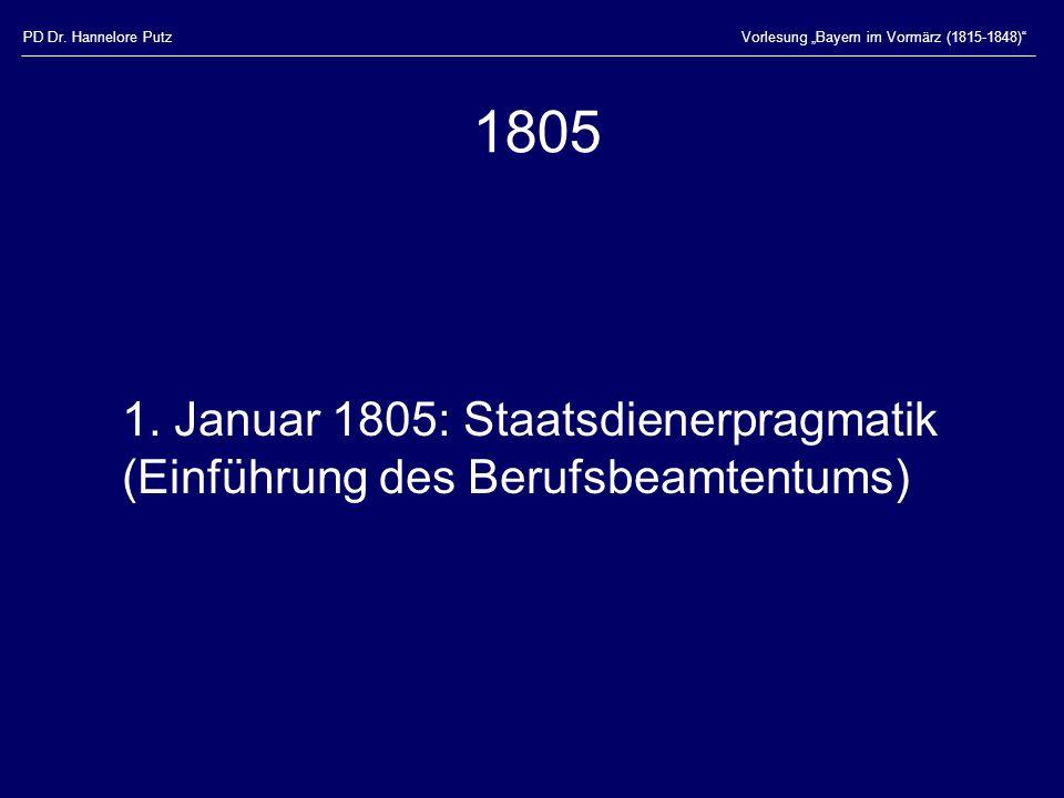 PD Dr.Hannelore PutzVorlesung Bayern im Vormärz (1815-1848) 1805 1.