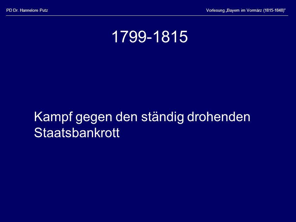 PD Dr. Hannelore PutzVorlesung Bayern im Vormärz (1815-1848) 1804 Schuldenpragmatik
