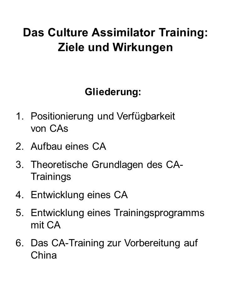 Das Culture Assimilator Training: Ziele und Wirkungen Gliederung: 1.Positionierung und Verfügbarkeit von CAs 2.Aufbau eines CA 3.Theoretische Grundlag