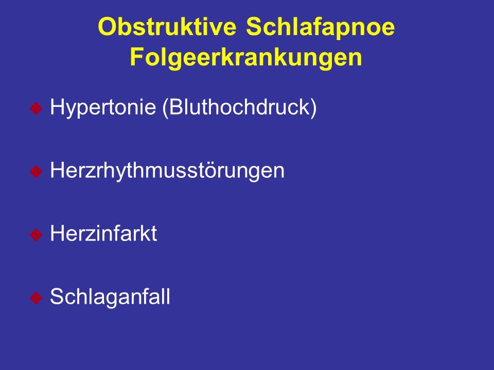Obstruktive Schlafapnoe Folgeerkrankungen u Hypertonie (Bluthochdruck) u Herzrhythmusstörungen u Herzinfarkt u Schlaganfall