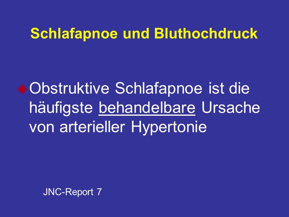 Schlafapnoe und Bluthochdruck u Obstruktive Schlafapnoe ist die häufigste behandelbare Ursache von arterieller Hypertonie JNC-Report 7