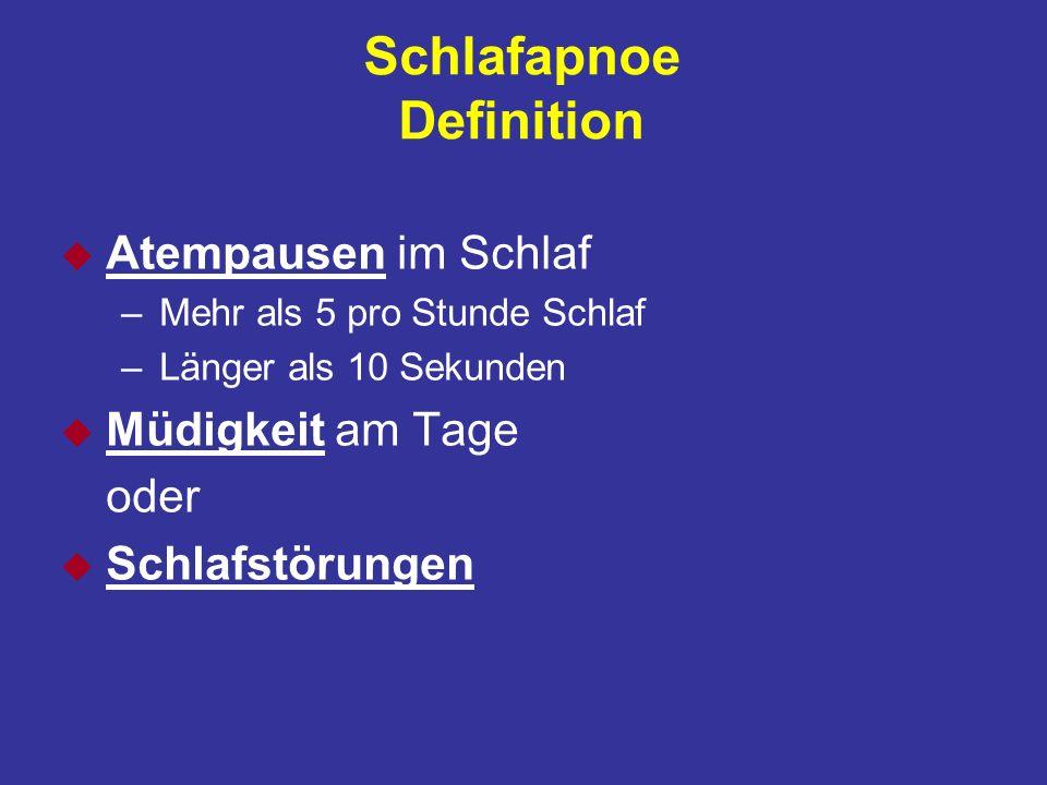 Obstruktive Atemstörungen im Schlaf u Schnarchen u Obstruktives Schnarchen (Upper Airway Resistance Syndrom) u Hypopnoen u Schlafapnoe-Syndrom