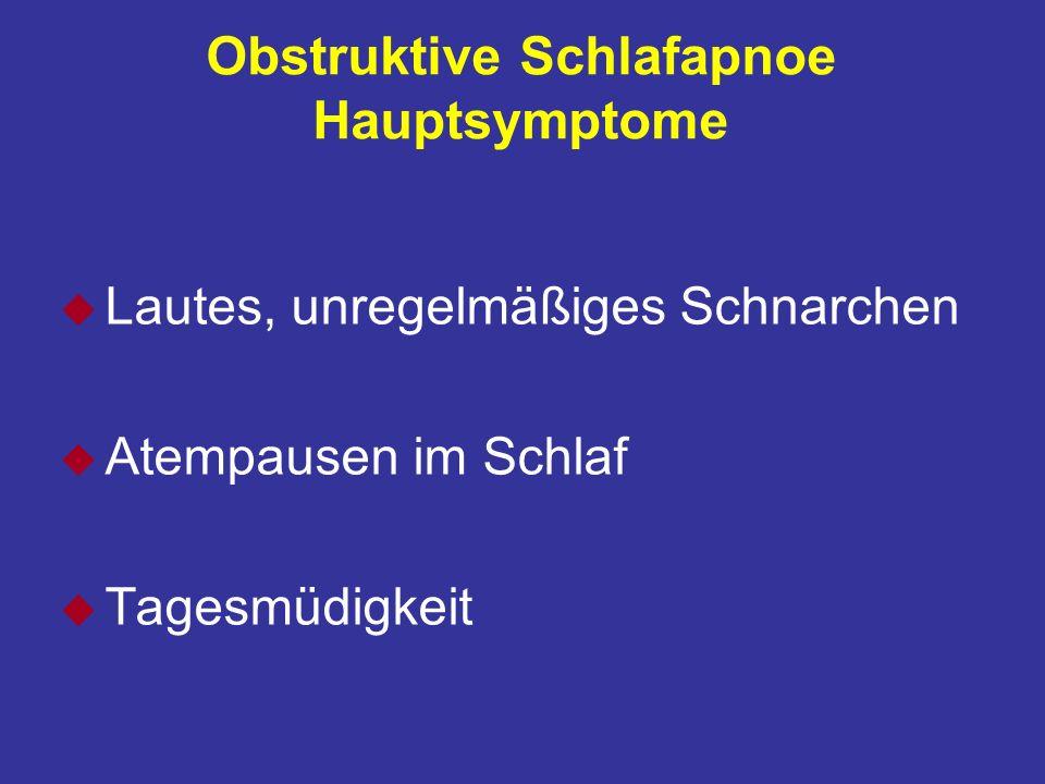 Obstruktive Schlafapnoe Hauptsymptome u Lautes, unregelmäßiges Schnarchen u Atempausen im Schlaf u Tagesmüdigkeit