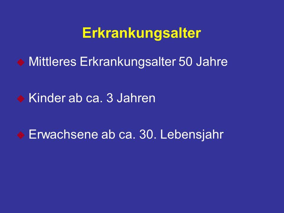 Erkrankungsalter u Mittleres Erkrankungsalter 50 Jahre u Kinder ab ca.