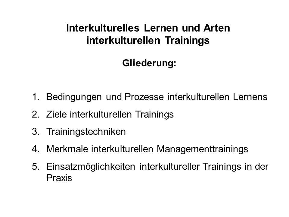 Interkulturelles Lernen und Arten interkulturellen Trainings Gliederung: 1.Bedingungen und Prozesse interkulturellen Lernens 2.Ziele interkulturellen