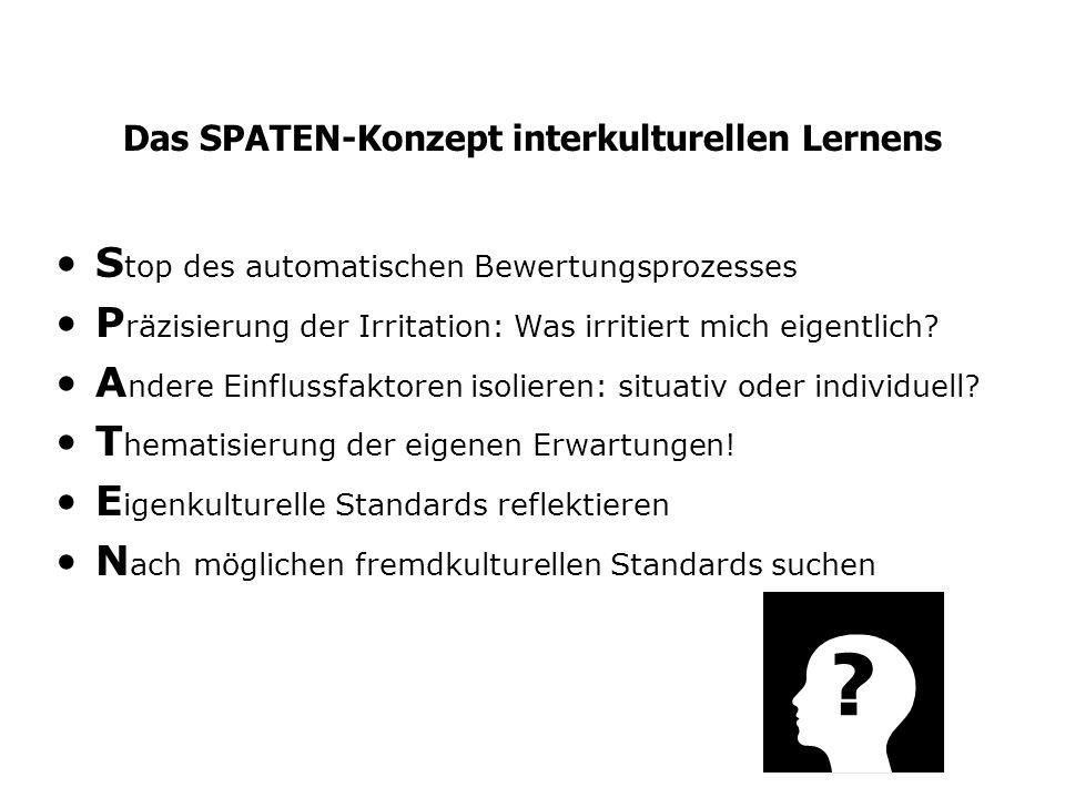 Das SPATEN-Konzept interkulturellen Lernens S top des automatischen Bewertungsprozesses P räzisierung der Irritation: Was irritiert mich eigentlich? A