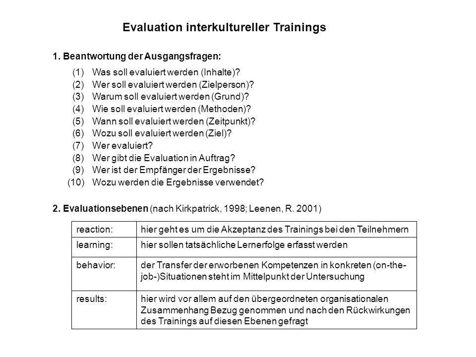 Evaluation interkultureller Trainings 1. Beantwortung der Ausgangsfragen: (1)Was soll evaluiert werden (Inhalte)? (2)Wer soll evaluiert werden (Zielpe