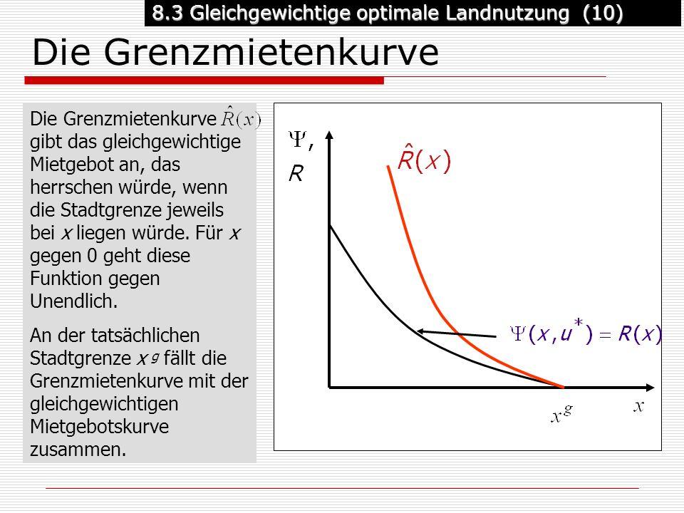 8.3 Gleichgewichtige optimale Landnutzung (10) Die Grenzmietenkurve Die Grenzmietenkurve gibt das gleichgewichtige Mietgebot an, das herrschen würde, wenn die Stadtgrenze jeweils bei x liegen würde.