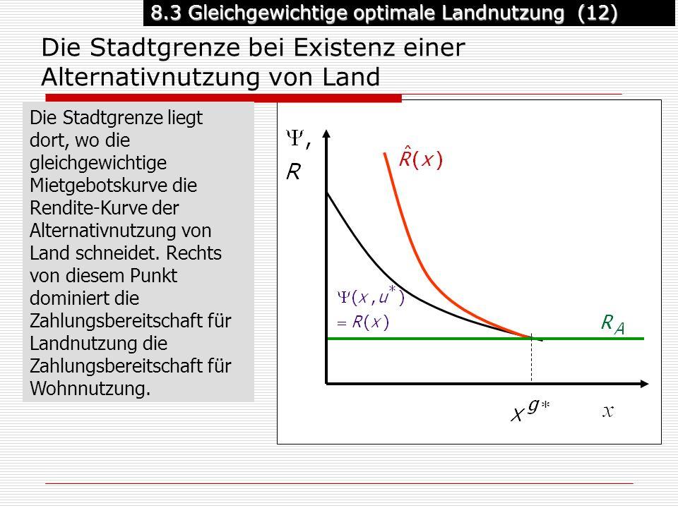 8.3 Gleichgewichtige optimale Landnutzung (12) Die Stadtgrenze bei Existenz einer Alternativnutzung von Land Die Stadtgrenze liegt dort, wo die gleichgewichtige Mietgebotskurve die Rendite-Kurve der Alternativnutzung von Land schneidet.