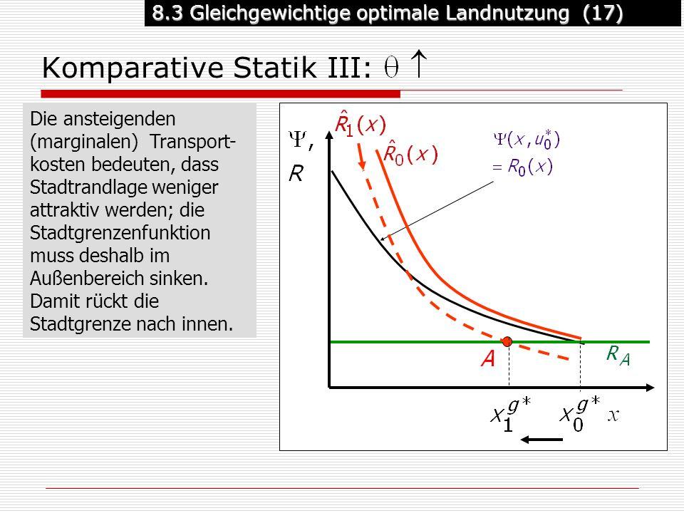 8.3 Gleichgewichtige optimale Landnutzung (17) Komparative Statik III: Die ansteigenden (marginalen) Transport- kosten bedeuten, dass Stadtrandlage weniger attraktiv werden; die Stadtgrenzenfunktion muss deshalb im Außenbereich sinken.
