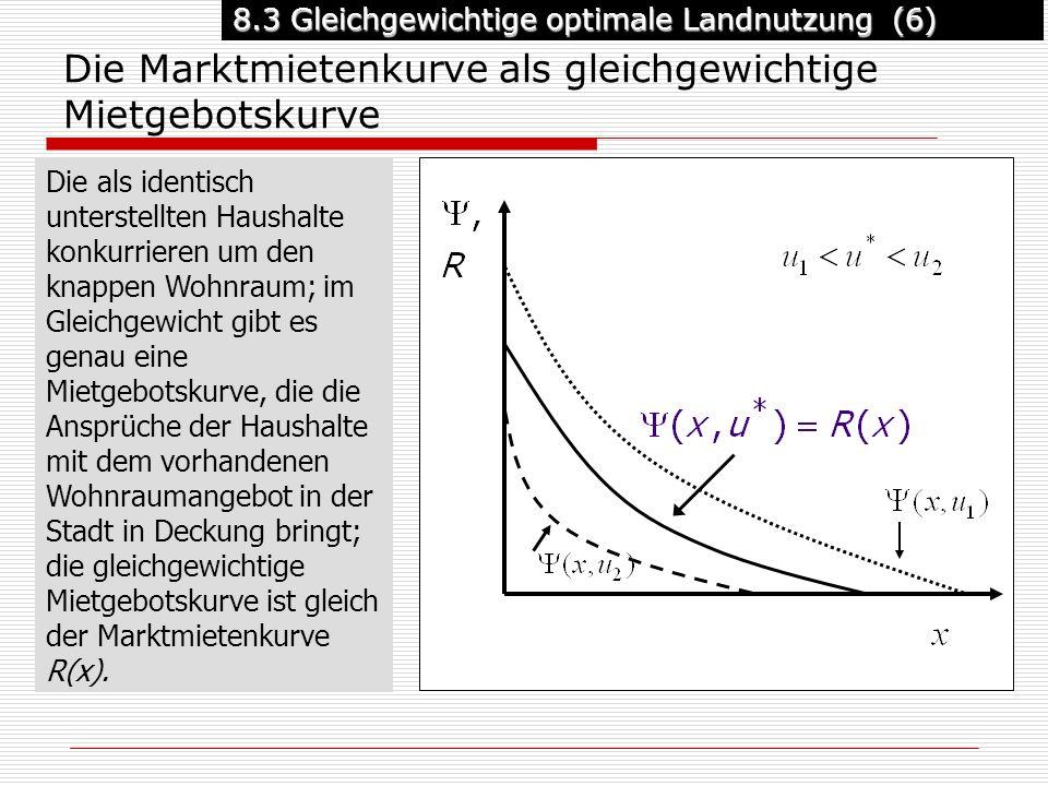 8.3 Gleichgewichtige optimale Landnutzung (6) Die Marktmietenkurve als gleichgewichtige Mietgebotskurve Die als identisch unterstellten Haushalte konkurrieren um den knappen Wohnraum; im Gleichgewicht gibt es genau eine Mietgebotskurve, die die Ansprüche der Haushalte mit dem vorhandenen Wohnraumangebot in der Stadt in Deckung bringt; die gleichgewichtige Mietgebotskurve ist gleich der Marktmietenkurve R(x).