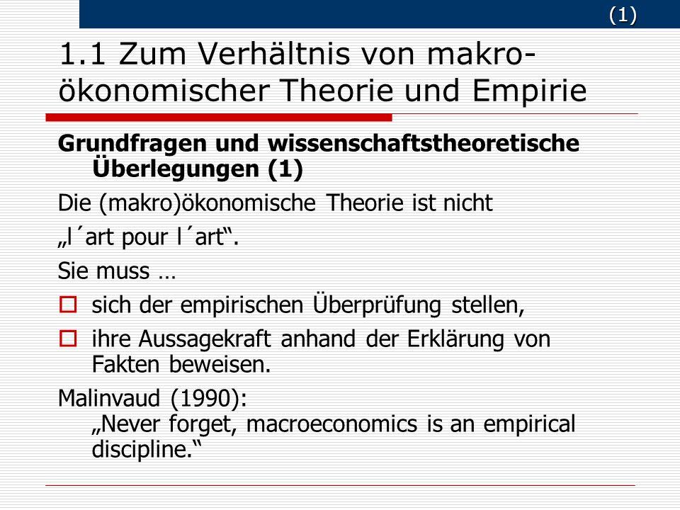 (1) (1) 1.1 Zum Verhältnis von makro- ökonomischer Theorie und Empirie Grundfragen und wissenschaftstheoretische Ü berlegungen (1) Die (makro)ökonomische Theorie ist nicht l´art pour l´art.